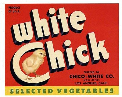 WHITE CHICK Brand, Chicken, Oxnard,*AN ORIGINAL PRODUCE CRATE LABEL*  191