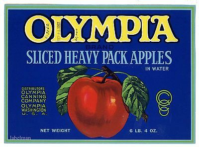 OLYMPIA Brand, Washington, Canning, Apples, *AN ORIGINAL TIN CAN LABEL* C39