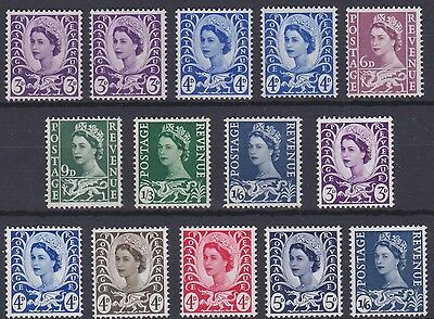 Wales Pre-Decimal W1 to W12, 14 stamps unmounted mint, just as picture.
