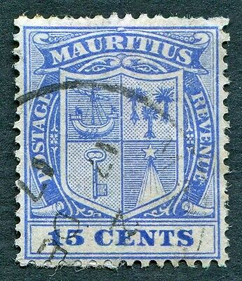 MAURITIUS 1910 15c blue SG189 used NG Coat of Arms #W27