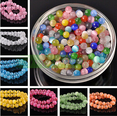 Wholesale 6/8/10/12mm Round Cats Eye Glass Loose Beads Craft Jewelry Finding DIY