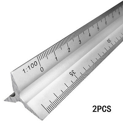 "2pcs 30cm 12"" Metric Triangular Aluminum Engineer Scale Ruler Engineering Pro"