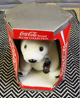 "Coca-Cola 8"" Polar Bear Plush Bear 1993 w/Coke Bottle (609)"