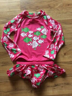 GIRL GYMBOREE FISH PINK BATHING SWIMSUIT Rash Guard NWT 4t