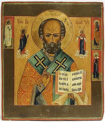 Old Antique Russian Icon of St. Nicholas, 19th c