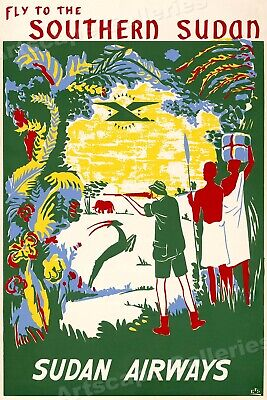 Fly Sudan Airways 1960s Vintage Style African Safari Travel Poster - 20x30