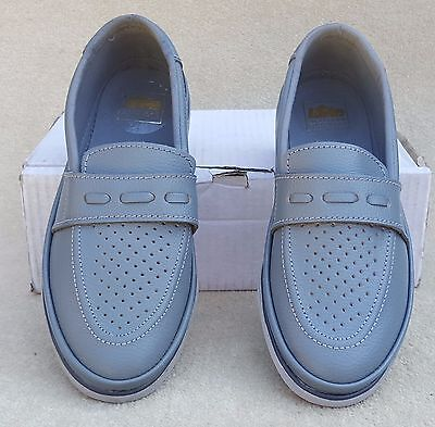 ELITE Ladies Domino Grey Leather Slip On Bowls Bowlers Shoes Sz 4 Ex Display (6)