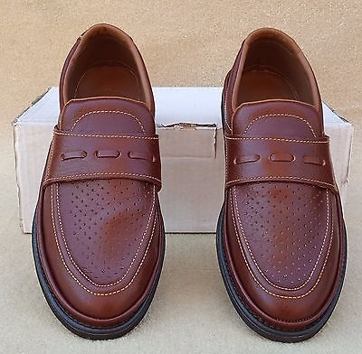 ELITE Mens Cairo Brown Leather Slip On Bowls Bowlers Shoes UK 7.5 Ex Display (8)