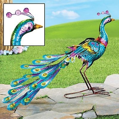 3 Dimensional Colorful Metal Peacock Outdoor Garden Sculpture Statue