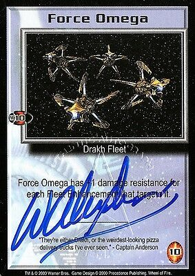 BABYLON 5 CCG Wayne Alexander WHEEL OF FIRE Force Omega AUTOGRAPHED