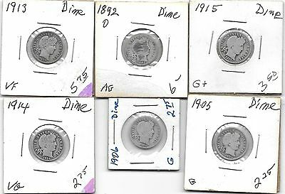 Lot of 6 Silver Barber Dimes dates range from 1892 to 1915