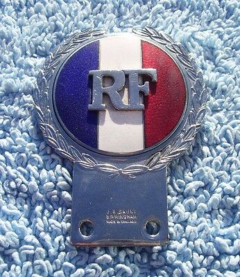 VINTAGE 1960s REPUBLIQUE FRANCAIS TRICOLORE CAR BADGE-ENAMEL FRANCE EMBLEM GAUNT