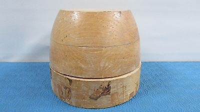 "Antique Wood Wooden Hat Block Head Style Form Display Mold Millinery Size 22""1/4"