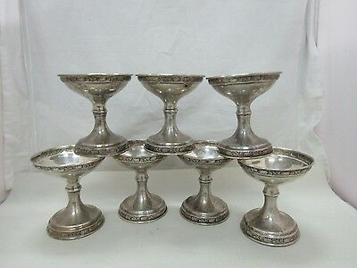 Vintage Sterling Silver Scroll Repousse Sherbet Stand Lot of 7