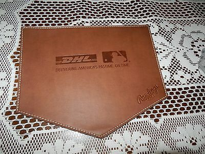 "RAWLINGS Brown Leather ""Delivering America's Pastime. On Time. Mouse Pad NEW!"