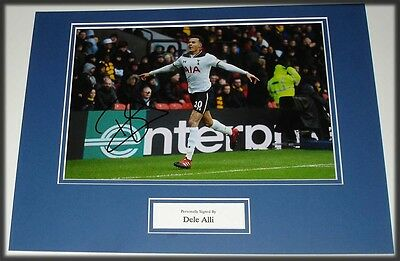 Dele Alli Tottenham Hot Spurs Hand Signed Autograph Photo Mount Soccer