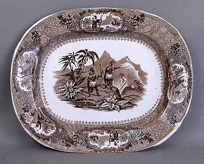 19th Cent Brown Transferware Historical Platter Hampson Longton Peruvian Hunters