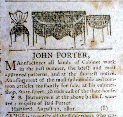 1801 newspaper w An ILLUSTRATED FURNITURE AD featuring FEDERALIST STYLE PERIOD