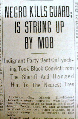 1912 newspaper NEGRO MAN LYNCHED then shot at COCHRAN Georgia by a White mob