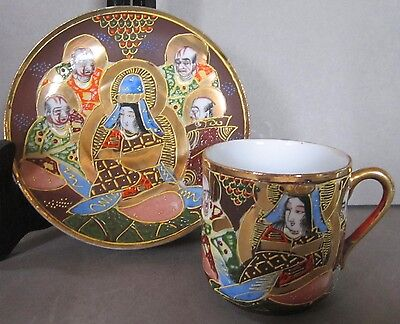Sightly Different Satsuma Demitasse Brilliant Antique Cup and Saucer