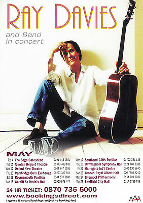 Ray Davies & Band 'IN CONCERT' UK Tour A5 Flyer - New