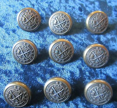 9 Most Likely Scottish Military Brass Bronze Buttons