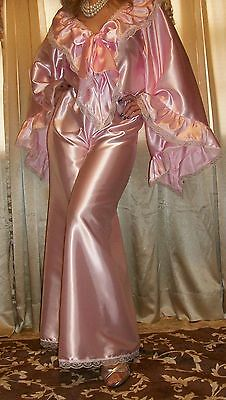 Vtg NEW Pink Sweep Wide Palazzo Pant Slip Satin Jumpsuit Nightgown Lingerie 1X
