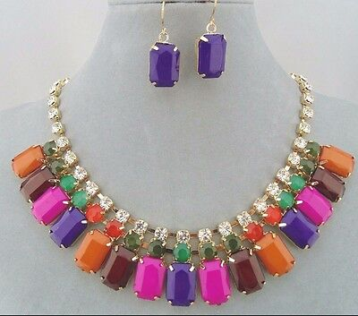 Gold With Multi Color And Crystal Necklace Earrings Set Fashion Jewelry NEW