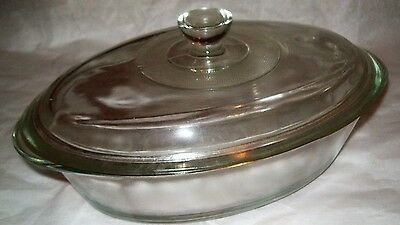 Vintage Glasbake 1 Quart Clear Glass Casserole with Lid