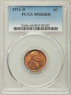 1911-D US Lincoln Wheat Cent 1C - PCGS MS66 RD