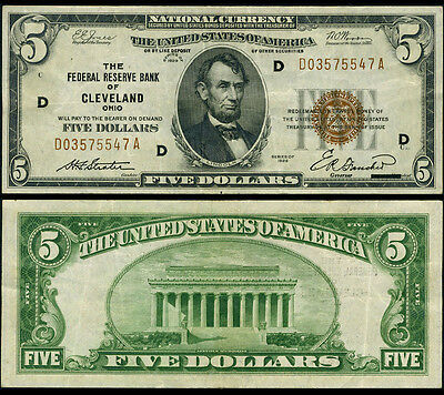 FR. 1850 D $5 1929 Federal Reserve Bank Note Cleveland Extra Fine