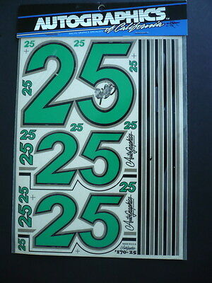"Green #25, #170-25, Autographics Of California Decals, 6"" X 8"" Mip"
