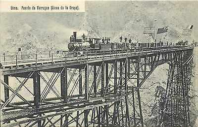 Peru, Lima, Puente de Verrugas, Linea de la Oroya, Railroad Train on Bridge