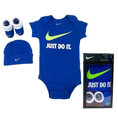 Nike 3 Piece Swoosh Box Gift set, Blue, 0/6 Months