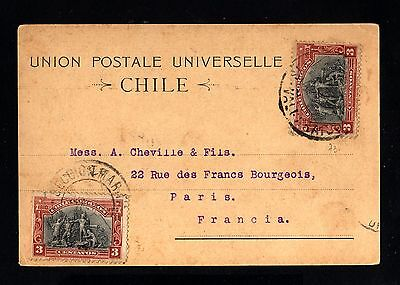 16046-CHILE-OLD POSTCARD VALPARAISO to PARIS (france).1911.Tarjeta postal.Chili.