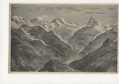 Zermatt Panorama Vintage Postcard Switzerland 391a
