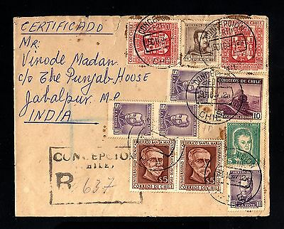 15041-CHILE-REGISTERED COVER CONCEPCION to JABALPUR (india)1957.RARE DESTINATION