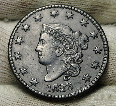 1828 Penny Coronet Large Cent - N-7, R3, Nice Coin, Free Shipping  (6209)
