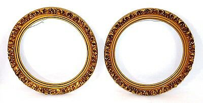 Pair Vintage ~Gold Gilt~ Round Wood Gesso Picture Portrait Plate Frame Display
