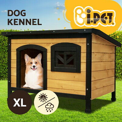 Dog House Pet Kennel Timber Wooden Log Outdoor Window Elevated Floor Large 104cm