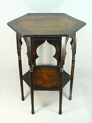 * Antique 1880's English ARTS-N-CRAFTS Period Hexagonal Ocassional Side Table
