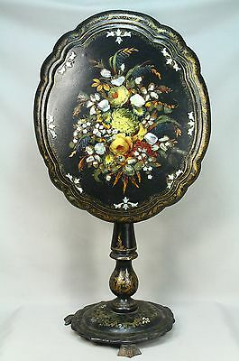 * Antique Victorian Mother-of-Pearl Inlay Lacquered Wood Tilt Top Side Table