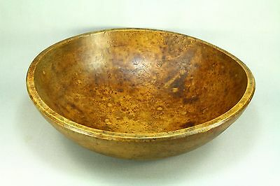 ! SUPERB 19th c. Americana Carved BIRDS EYE MAPLE Burl Wood Dough Mixing Bowl