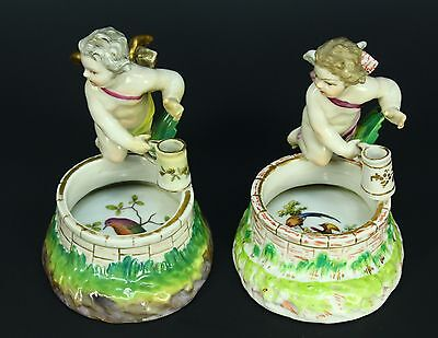 * c.1770 Antique KPM BERLIN Pair Porcelain Figurines Open Salts Cherub Figures