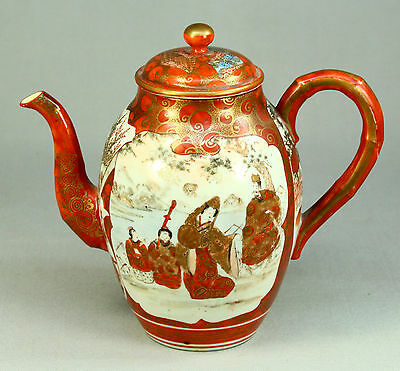 *Antique 1800's Japanese FINE KUTANI Hand Painted Porcelain Tea Pot, Signed