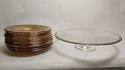 Footed Cake and 12 Small Dessert Salad CLEAR GLASS Plates GOLD RIMMED