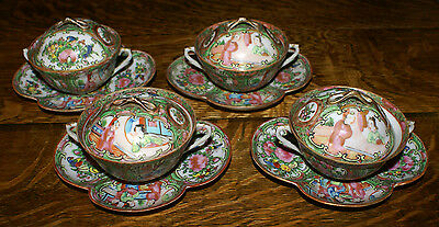 4 Chinese Export Rose Medallion Covered Double Handled Soup Cups & Saucers  RARE