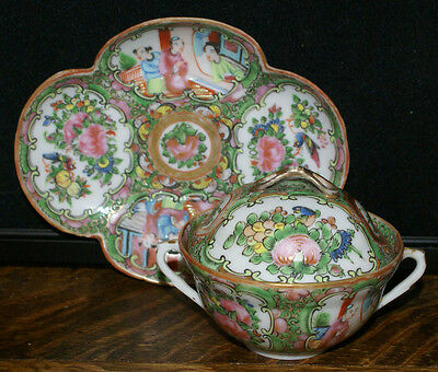 ONE Chinese Export Rose Medallion Covered Double Handled Soup Cup & Saucer RARE