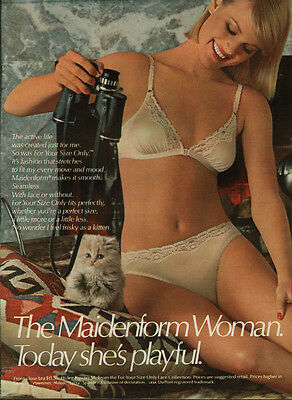Today she's playful The Maidenform Woman bra & panties ad 1985
