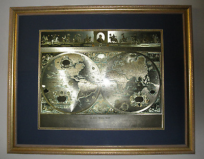 William Blaeu Two Hemisphere of the World Wall Map in Gold Foil / Framed  (111)